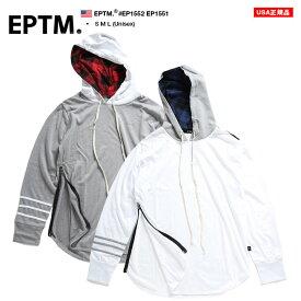 エピトミ EPTM ロンT 【EP1552 EP1551】 メンズ レディース Tシャツ 長袖 かっこいい おしゃれ チェック柄 フード付き グレー赤 白紺 シンプル モード ダンス アメリカ製 S M L 大きいサイズ b系 ヒップホップ ストリート系 ファッション ブランド ギフト