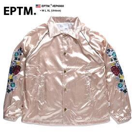 エピトミ EPTM コーチジャケット ナイロンジャケット アウター 長袖 ボタンアップ メンズ サーモンピンク M L XL 2L LL 大きいサイズ b系 ヒップホップ ストリート系 ファッション ブランド 服 かっこいい おしゃれ 袖ロゴ 刺繍 薔薇 花柄 サテン シャイニー 光沢 EP6988