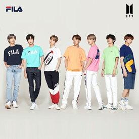 BTS着用モデル フィラ FILA Tシャツ 半袖 メンズ レディース 男女兼用 青 紺 ミント オフホワイト オレンジ ピンク 緑 Fサイズ 特典 数量限定 8枚セットのクリアファイル付き FM9357
