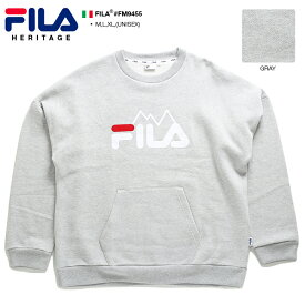 フィラ FILA スウェット トレーナー 長袖 メンズ レディース グレー M L XL 2L LL 大きいサイズ b系 ヒップホップ ストリート系 スポーツ ファッション おしゃれ フロッキープリント 刺繍 ドルマンスリーブ ドロップショルダー ビッグシルエット イタリア ギフト FM9455
