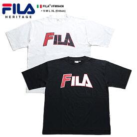 フィラ FILA メンズ レディース Tシャツ 半袖 【FM9406】 かっこいい 90' ツアーロゴ アーチロゴ 定番ロゴ ブランドロゴ 白 黒 ビッグシルエット ダンス スポーツ ブランド S M L XL 2L LL 大きいサイズ b系 ヒップホップ ストリート系 ファッション 正規品 ギフト