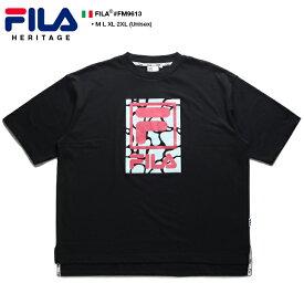 フィラ FILA Tシャツ 半袖 メンズ 黒 M L XL 2L LL 2XL 3L XXL 大きいサイズ b系 ヒップホップ ストリート系 スポーツ ファッション 服 かっこいい おしゃれ 定番ロゴ ボックスロゴ プール ボックスシルエット ドロップショルダー ビッグシルエット ギフト FM9613