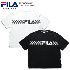 フィラ FILA Tシャツ 半袖 メンズ レディース 白 黒 M L XL 2L LL 2XL 3L XXL 大きいサイズ b系 ヒップホップ ストリート系 スポーツ ファッション 服 かっこいい おしゃれ チェッカーフラッグ ライン 刺繍 ボックスシルエット ドロップショルダー ビッグシルエット FM9607
