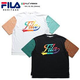 フィラ FILA Tシャツ 半袖 メンズ レディース 黒 白 M L XL 2L LL 2XL 3L XXL 大きいサイズ b系 ヒップホップ ストリート系 スポーツ ファッション 服 かっこいい おしゃれ チェッカーフラッグ クレイジーカラー 切替 刺繍 ドロップショルダー ビッグシルエット FM9608