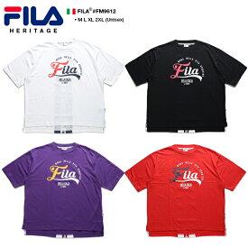 フィラ FILA Tシャツ 半袖 メンズ レディース 白 黒 紫 赤 M L XL 2L LL 2XL 3L XXL 大きいサイズ b系 ヒップホップ ストリート系 スポーツ ファッション 服 かっこいい おしゃれ 縦ライン 切替 刺繍 ボックスシルエット ドロップショルダー ビッグシルエット FM9612