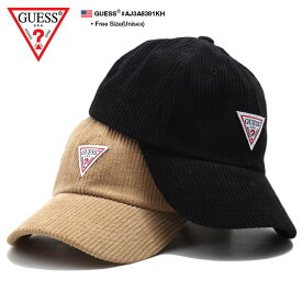 ゲス GUESS 帽子 キャップ ローキャップ ボールキャップ CAP メンズ レディース カーキ 黒 男女兼用 b系 ヒップホップ ストリート系 ファッション ブランド トライアングルロゴ シンプル ワンポイント 刺繍 ワッペン コーデュロイ かっこいい おしゃれ ギフト AJ3A8381KH