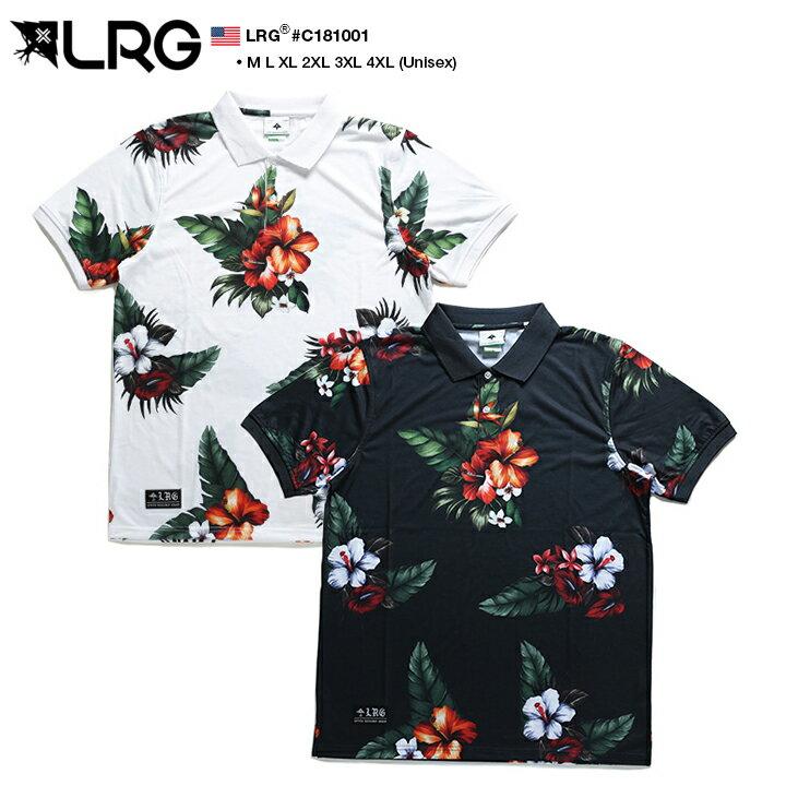 【送料無料】b系 ヒップホップ ストリート系 ファッション メンズ レディース ポロシャツ 【C181001】 エルアールジー LRG かっこいい 天竺編み ハイビスカス ボタニカル柄 大人 白 黒 M L XL 2L LL 2XL 3L XXL 3XL 4L XXXL 4XL 5L XXXXL 大きいサイズ 正規品【楽ギフ_包装】