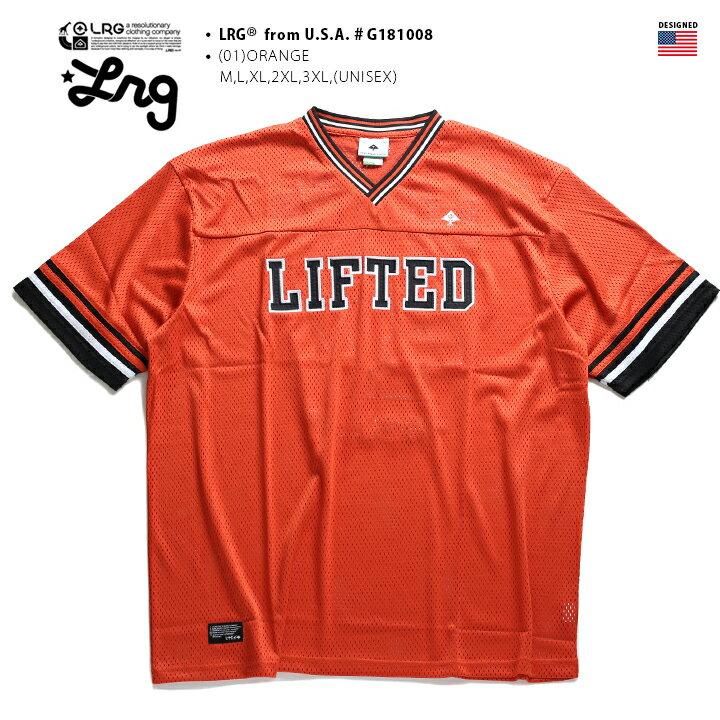 エルアールジー LRG フットボールシャツ 【G181045】 メンズ レディース ゲームシャツ 半袖 かっこいい メッシュ ジャージ ナンバー ライン 刺繍 オレンジ黒 XL 2L LL 2XL 3L XXL 3XL 4L XXXL 大きいサイズ b系 ヒップホップ ストリート系