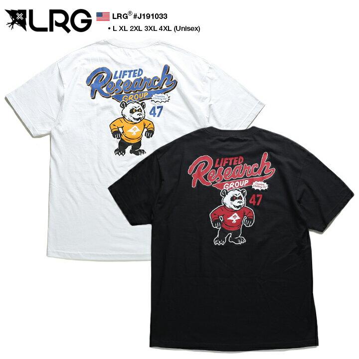 エルアールジー LRG Tシャツ 半袖 メンズ レディース 白 黒 L XL 2L LL 2XL 3L XXL 3XL 4L XXXL 4XL 5L XXXXL 大きいサイズ b系 ヒップホップ ストリート系 ブランド 服 かっこいい おしゃれ パンダ マスコット カレッジ プリント ビッグシルエット ダンス ギフト J191033