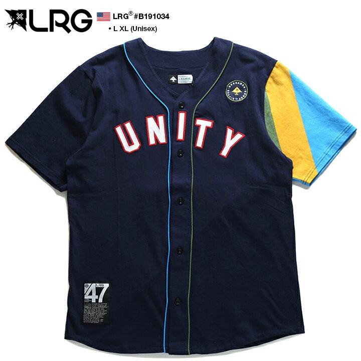 エルアールジー LRG ベースボールシャツ ゲームシャツ 半袖 メンズ 紺 L XL 2L LL 大きいサイズ b系 ヒップホップ ストリート系 ファッション ブランド 服 かっこいい おしゃれ ジャマイカ ナンバー ワッペン 刺繍 ビッグシルエット オーバーサイズ スポーツ B191034