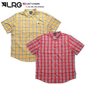 エルアールジー LRG 半袖シャツ メンズ 黄色 赤 L XL 2L LL 2XL 3L XXL 3XL 4L XXXL 大きいサイズ b系 ヒップホップ ストリート系 ファッション ブランド 服 かっこいい おしゃれ ボタンダウン チェック柄 シンプル ワンポイント 刺繍 ビッグシルエット ギフト J192008