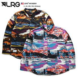 エルアールジー LRG 長袖シャツ ネルシャツ 総柄 メンズ 黒 ピンク L XL 2L LL 2XL 3L XXL 3XL 4L XXXL 大きいサイズ b系 ヒップホップ ストリート系 ファッション ブランド 服 かっこいい おしゃれ 自然風景絵 カラフル ギフト K192001
