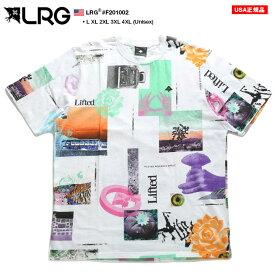 LRG Tシャツ 半袖 メンズ レディース 白 L-2XL 大きいサイズ エルアールジー ゆったりサイズ ビッグシルエット 総柄 かっこいい おしゃれ 花柄 薔薇 総柄 b系 ヒップホップ ストリート系 ファッション ブランド 服 F201002【セール】