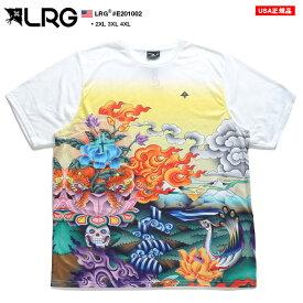 LRG Tシャツ 半袖 メンズ レディース 白 2XL-3XL 大きいサイズ エルアールジー 総柄 ゆったり オーバーサイズ ビッグシルエット かっこいい おしゃれ 花柄 蓮の花 入れ墨 総柄 b系 ヒップホップ ストリート系 ファッション ブランド 服 E201002【セール】