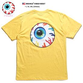 ミシカ MISHKA Tシャツ 半袖 メンズ レディース 黄色 L XL 2L LL 2XL 3L XXL 大きいサイズ b系 ヒップホップ ストリート系 ブランド 服 かっこいい おしゃれ KEEPWATCH キープウォッチ 目玉デザイン 人気キャラクター グラデーション パンク バンド系 アジア限定 MSS190007