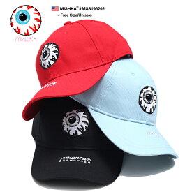 ミシカ MISHKA 帽子 キャップ ローキャップ ボールキャップ CAP メンズ レディース 赤 水色 黒 b系 ヒップホップ ストリート系 ファッション ブランド KEEPWATCH キープウォッチ 目玉デザイン 人気キャラクター 刺繍 かっこいい おしゃれ パンク バンド系 限定 MSS193202