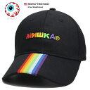 ミシカ MISHKA 帽子 キャップ ローキャップ ボールキャップ CAP メンズ レディース 黒 b系 ヒップホップ ストリート系 ファッション ブランド レインボーカラー 虹色 ロシア語 刺繍 ラ