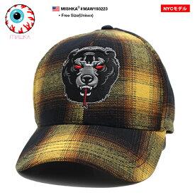 ミシカ MISHKA 帽子 キャップ ローキャップ ボールキャップ CAP メンズ レディース 黄色 男女兼用 b系 ヒップホップ ストリート系 ファッション ブランド オンブレーチェック柄 Death Adder 熊 人気キャラクター 刺繍 かっこいい おしゃれ NYCモデル ギフト MAW193223