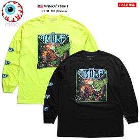 ミシカ MISHKA ロンT ロングスリーブTシャツ 長袖 メンズ 蛍光緑 黒 ネオンカラー L XL 2L LL 2XL 3L XXL 大きいサイズ b系 ヒップホップ ストリート系 ファッション ブランド 服 かっこいい おしゃれ 正義のヒーロー 怪獣 地球 宇宙 ビッグシルエット 76941