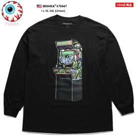 ミシカ MISHKA ロンT 長袖 メンズ 黒 ネオンカラー L XL 2L LL 2XL 3L XXL 大きいサイズ b系 ヒップホップ ストリート系 ファッション ブランド 服 かっこいい おしゃれ ゲームセンター KEEPWATCH キープウォッチ 目玉 人気キャラクター スカル ビッグシルエット 6947