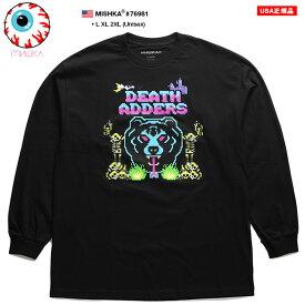 ミシカ MISHKA ロンT ロングスリーブTシャツ 長袖 メンズ 黒 ネオンカラー L XL 2L LL 2XL 3L XXL 大きいサイズ b系 ヒップホップ ストリート系 ファッション ブランド 服 かっこいい おしゃれ デジタルグラフィック Death Adder デスアダー 熊 人気 ビッグシルエット 76981
