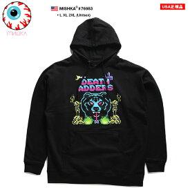 ミシカ MISHKA フードパーカー スウェット 長袖 メンズ 黒 L XL 2L LL 2XL 3L XXL 大きいサイズ b系 ヒップホップ ストリート系 ファッション ブランド 服 かっこいい おしゃれ ネオンカラー デジタル Death Adder デスアダー 熊 人気キャラクター ビッグシルエット 76983