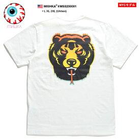 ミシカ MISHKA Tシャツ 半袖 メンズ レディース 白 L XL 2L LL 2XL 3L XXL 大きいサイズ b系 ヒップホップ ストリート系 ファッション ブランド 服 かっこいい おしゃれ グラデーション Death Adder デスアダー 熊キャラクター 蛍光緑 ビッグシルエット アジア限定 MSS200001