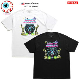 ミシカ MISHKA Tシャツ 半袖 アニマル メンズ 白 黒 ネオンカラー L XL 2L LL 2XL 3L XXL 大きいサイズ b系 ヒップホップ ストリート系 ファッション ブランド かっこいい おしゃれ デジタルグラフィック Death Adder デスアダー 熊 人気キャラクター ビッグシルエット 76980