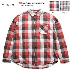 ミニマル mnml 長袖シャツ メンズ レディース 赤 水色 M L XL 2L LL 大きいサイズ かっこいい おしゃれ ネルシャツ チェック柄 アメカジ LA カジュアル ダンス ギフト b系 ヒップホップ ストリート系 ファッション ブランド 服 M2018-F474-BBR/BRW
