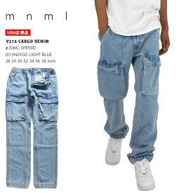 mnml カーゴパンツ メンズ インディゴライトブルー 大きいサイズ ミニマル ジーンズ デニム イージーパンツ ロングパンツ ジーパン Gパン デニムパンツ 長ズボン テーパード かっこいい おしゃれ 無地 シンプル ストリート系 ファッション ブランド 20ML-SP859D