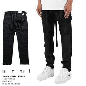ミニマル mnml カーゴパンツ ロングパンツ 長ズボン メンズ レディース 黒 b系 ヒップホップ ストリート系 ファッション ブランド 服 かっこいい おしゃれ ストレッチ リラックスフィット イージーパンツ 無地 シンプル ブラックデニム ハイモード M2019-P565