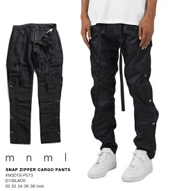 ミニマル mnml カーゴパンツ ロングパンツ 長ズボン メンズ 黒 b系 ヒップホップ ストリート系 ファッション ブランド おしゃれ カーゴパンツ サイドスナップボタン シャイニー素材 光沢 リラックスフィット テーパード イージーパンツ 無地 シンプル M2019-P573