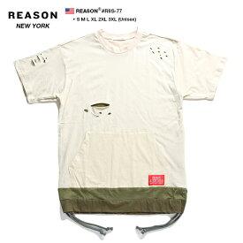 b系 ヒップホップ ストリート系 ファッション 服 メンズ レディース Tシャツ 【R8S-77】 リーズン REASON ロング丈 ロングテール ロングレングス クラッシュ 切替 ポケット M L XL 2L LL 2XL 3L XXL 3XL 4L XXXL 大きいサイズ 正規品