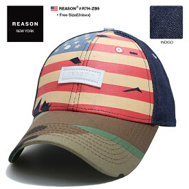 b系 ヒップホップ ストリート系 ファッション メンズ レディース キャップ 【R7H-ZB9】 リーズン REASON CAP 帽子 スナップバック ボールキャップ ローキャップ つば カーブ 星条旗 迷彩 デニム クレイジーカラー Fサイズ 男女兼用 正規品 ギフト
