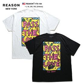 リーズン REASON Tシャツ 半袖 メンズ レディース 白 黒 L XL 2L LL 2XL 3L XXL 3XL 4L XXXL 大きいサイズ b系 ヒップホップ ストリート系 ファッション ブランド 服 かっこいい おしゃれ PASS THE LOVE カラフル ボックスロゴ ビッグシルエット アメリカ製 ギフト T0-144