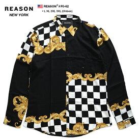 リーズン REASON 長袖シャツ 総柄 アロハシャツ メンズ レディース ゴールド 白黒 L XL 2L LL 2XL 3L XXL 3XL 4L XXXL 大きいサイズ b系 ヒップホップ ストリート系 ファッション ブランド 服 かっこいい おしゃれ バロック彫刻花柄 チェッカーフラッグ F0-62