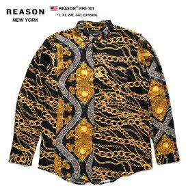 リーズン REASON 長袖シャツ アロハシャツ 総柄 メンズ レディース 黒 L XL 2L LL 2XL 3L XXL 3XL 4L XXXL 大きいサイズ b系 ヒップホップ ストリート系 ファッション ブランド 服 かっこいい おしゃれ 大人気 バロック彫刻 ヘビ 蛇 ゴールドチェーン F0-101