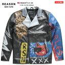 リーズン REASON レザージャケット アウター 長袖 メンズ レディース 黒 S M L XL 2L LL 2XL 3L XXL 大きいサイズ b系 ヒップホップ ストリート系 ファッション ブラ