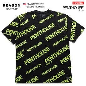 リーズン REASON Tシャツ 半袖 メンズ 男女兼用 黒 L XL 2L LL 2XL 3L XXL 3XL 4L XXXL 大きいサイズ b系 ヒップホップ ストリート系 ファッション ブランド 服 かっこいい おしゃれ イギリス雑誌 Penthouse ペントハウス 限定コラボ モノグラム 総柄 ネオンカラー U1-307