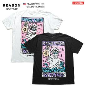 リーズン REASON Tシャツ 半袖 ポップアート メンズ 白 黒 L XL 2L LL 2XL 3L XXL 3XL 4L XXXL 大きいサイズ b系 ヒップホップ ストリート系 ファッション ブランド 服 かっこいい おしゃれ 自由の女神 ポップアート ウォールアート ビッグシルエット ギフト U1-158