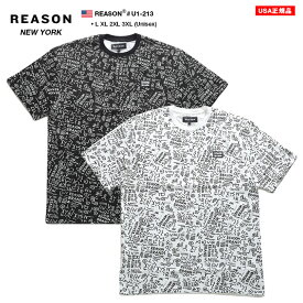 リーズン REASON Tシャツ 半袖 総柄 メンズ 黒 白 L XL 2L LL 2XL 3L XXL 3XL 4L XXXL 大きいサイズ b系 ヒップホップ ストリート系 ファッション ブランド 服 かっこいい おしゃれ 幾何学柄 総柄 ビッグシルエット ギフト U1-213