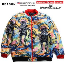 リーズン REASON アウター パデッドジャケット 中綿リバーシブル バスキア Basquiat 限定コラボ 公式 長袖 メンズ 秋冬用 黄色 M L XL 2L LL 2XL 3L XXL 3XL 4L XXXL 大きいサイズ b系 ヒップホップ ストリート系 ファッション ブランド おしゃれ グラフィティ RCF20120