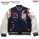 リーズン REASON スタジャン ジャケット アウター 長袖 メンズ 紺 M L XL 2L LL 2XL 3L XXL 大きいサイズ b系 ヒップホップ ストリート系 ファッション ブランド 服