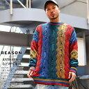 REASON ニット セーター 長袖 綿 メンズ レディース 春秋冬用 全4色 大きいサイズ リーズン コットンセーター 編み物 ギフト おしゃれ …