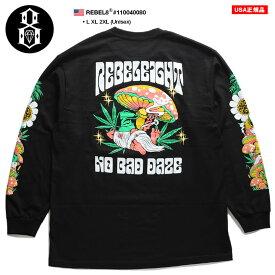 レベルエイト REBEL8 ロンT ロングスリーブTシャツ 長袖 メンズ 黒 L XL 2L LL 2XL 3L XXL 大きいサイズ b系 ヒップホップ ストリート系 ファッション ブランド 服 かっこいい おしゃれ 袖プリント ロゴ 魔法使い キノコ マリファナ ビッグシルエット 110040080