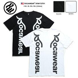 b系 ヒップホップ ストリート系 ファッション メンズ レディース Tシャツ 半袖 【RW172T01】 ロカウェア ROCAWEAR かっこいい 縦プリント ブランドロゴモノトーン 白 黒 ラッパー jay-z ブランド USAモデル M L XL 2L LL 2XL 3L XXL 大きいサイズ 正規品 ギフト
