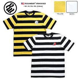 ロカウェア ROCAWEAR Tシャツ 半袖 【RW181K23】 メンズ かっこいい ボーダー柄 刺繍 スカル ボクシング 黄色黒白 Rロゴ ラッパー Jay-Z XL 2L LL 2XL 3L XXL 3XL 4L XXXL 大きいサイズ b系 ヒップホップ ストリート系 ファッション 服 正規品 ギフト