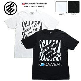 ロカウェア ROCAWEAR Tシャツ 半袖 【RW181T27】 かっこいい チェッカーフラッグ柄 ロゴ 黒白 ラッパー Jay-Z ジェイジー M L XL 2L LL 2XL 3L XXL 3XL 4L XXXL b系 ヒップホップ ストリート系 メンズ レディース 大きいサイズ 正規品 ギフト