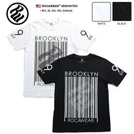 ロカウェア ROCAWEAR Tシャツ 半袖 【RW181T03】 かっこいい 袖プリント バーコード ボックスロゴ ナンバー 名曲 99 PROBLEMS 黒白 M L XL 2L LL 2XL 3L XXL 3XL 4L XXXL 大きいサイズ b系 ヒップホップ ストリート系 メンズ レディース 正規品 ギフト