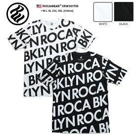 ロカウェア ROCAWEAR Tシャツ 半袖 【RW181T05】 かっこいい 英字 総柄 黒白 ラッパー Jay-Z ジェイジー M L XL 2L LL 2XL 3L XXL 3XL 4L XXXL 大きいサイズ b系 ヒップホップ ストリート系 ファッション 服 メンズ レディース 正規品 ギフト